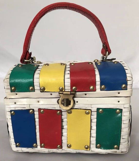 Funky Wicker Bag with Color Leather Patches