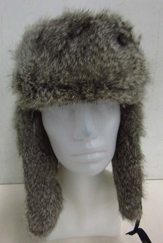 Fab Bomber Hat with Rabbit Fur Trim