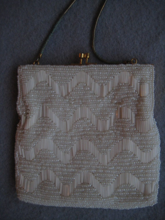 Scallop Beading on a Walborg White Evening Bag