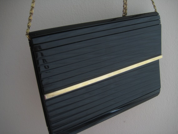 Black Envelope Style Lucite Shoulder Bag