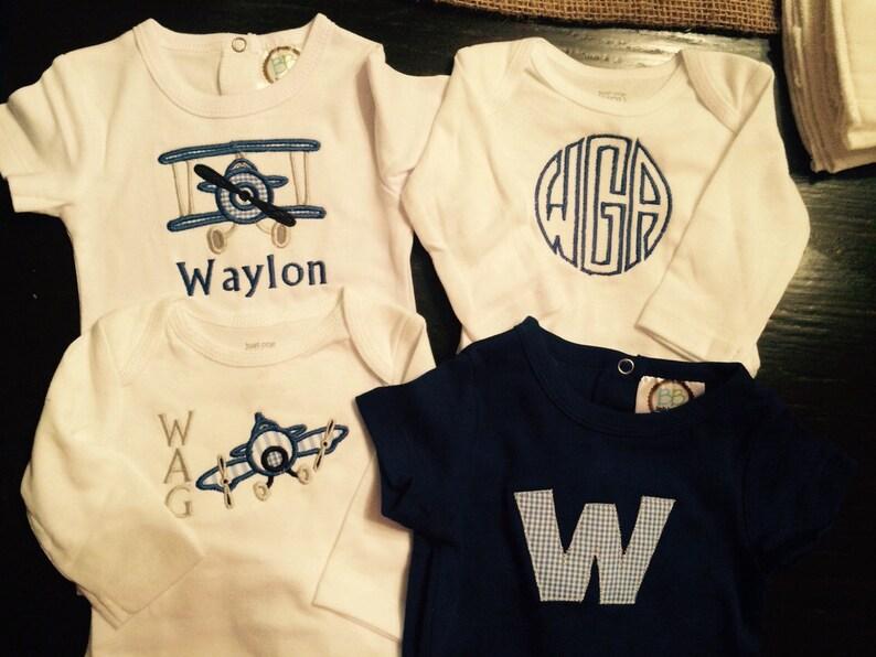 Boys Airplane Themed Onesie and Burp Cloth Set