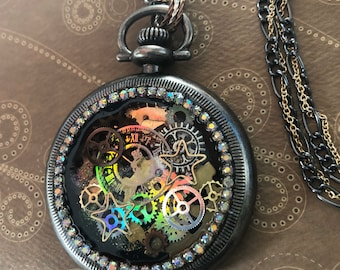 Holographic Steampunk Watch Pendent
