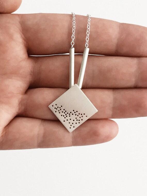 Square Shaped Sterling Silver Oxytocin Charm Necklace Oxytocin Necklace