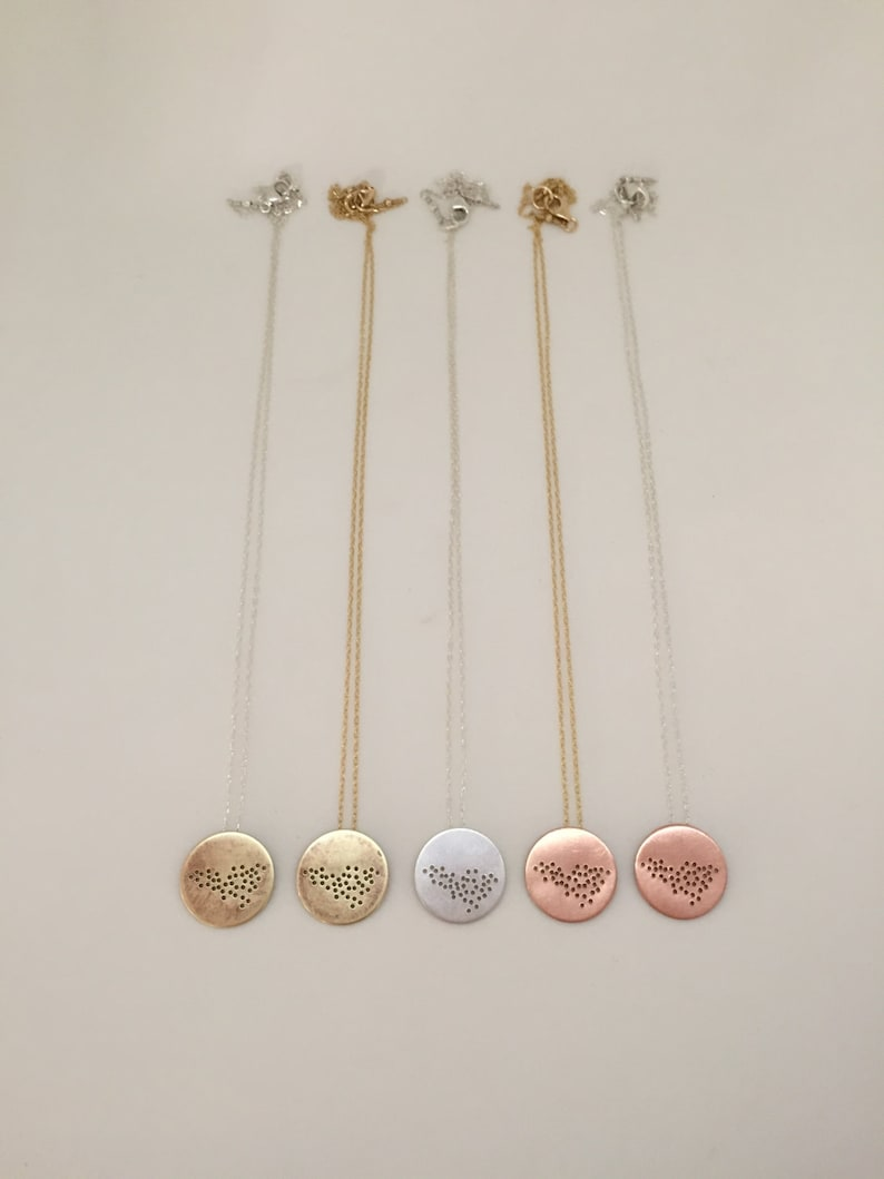 Brass or Rose Gold Filled Oxytocin Themed Charm Necklace in Coppper Gold Filled Silver Large Version