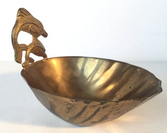 BRASS DOLPHIN BOWL Vintage Brass Trinket Bowl Adorned with 2 Jumping Dolphins