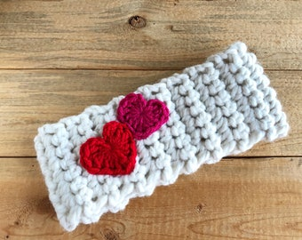 51692e2151d Chunky Crochet Ear Warmers with Heart Appliques  infant to adult