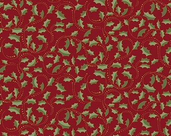 Festive Season II Red Holly Holiday Fabric with Gold Metallic 2657M-10 from Benartex by the yard
