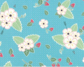 Bumble Berries Sky Blue Floral from Moda by the yard