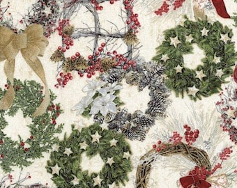 Holiday Cream Wreaths Fabric with Silver Metallic CM6102-Cream from Timeless Treasures by the yard