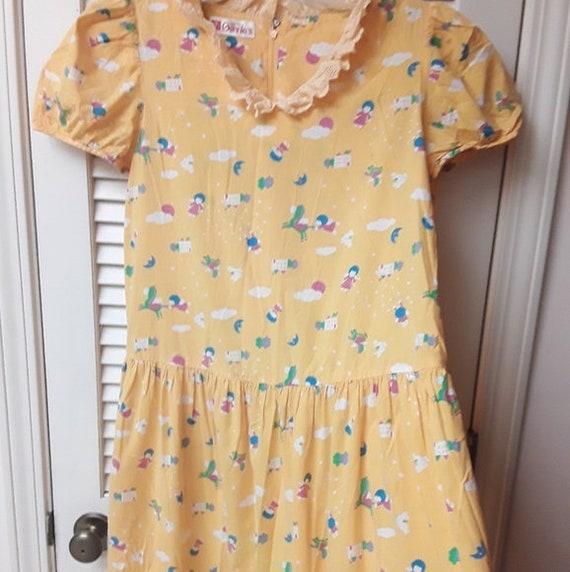 Yellow Unicorn Lace Pinup Vintage Boho Maternity D
