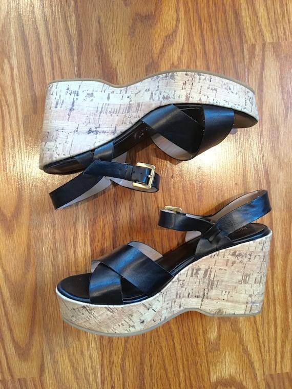Open Us Black Size Free Toe Sandals 7 Slingback Shipping Vtg Platform Womens yvImbYf76g