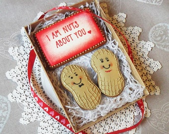 I am nuts about you - cookie gift box -  can be personalised - love gift - valentines day gift - valentines day cookies