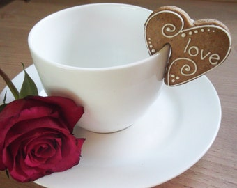 """16 mini heart  """"sit on cup"""" cookies"""