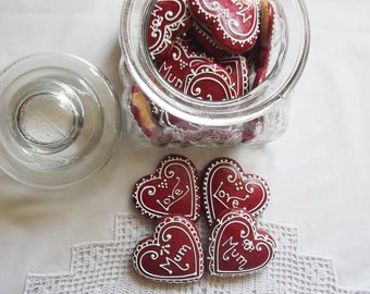 12 Personalized Mini Red Heart Cookies in a Jar - love gift - mother's day gift -valentines gift