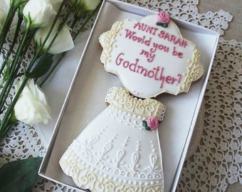 Personalised Would you be my Godmother Biscuit gift box - christening cookies - baptism cookies - gift for Godmother