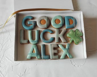 Personalised Good Luck Cookie Gift Box For Him