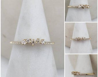 Memorial Cremation Minimalist 10k Gold Rectangle Cut Cubic Zirconia RingMemorial Ash JewelryPet Memorial JewelryCremation Ring