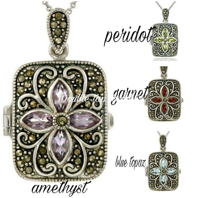 Memorial Ash Sterling Silver Gem Stone Locket Pendant NecklaceCremation PendantPet Memorial JewelryCremationMore than 90 Color Options