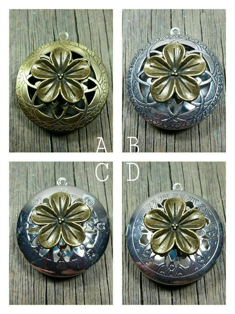 Memorial Ash Flower Silver or Bronze Locket Pendant NecklaceCremation PendantPet Memorial JewelryCremationMore than 90 Color Op