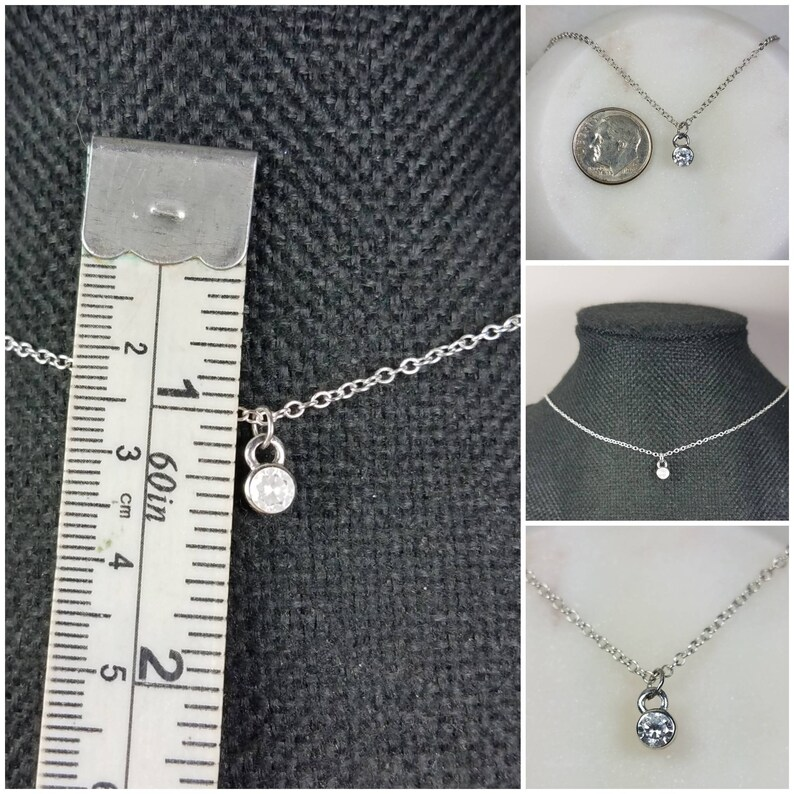 Studiodragonfly19 Gem Stone  Minimalist CZ Bezel Cremation Memorial Ash NecklaceMemorial Ash Jewelry Pet NecklaceBezel Necklace