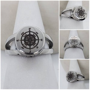 Memorial Ash Stainless Steel Compass Cremation Urn RingUrnCremation RingFunnel,screw driver and adhesive included