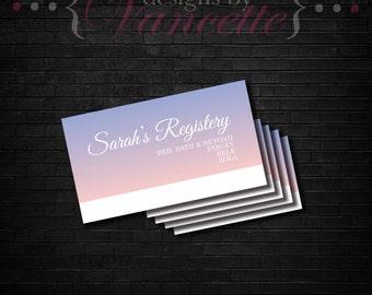 Gradient Registry Insert, Color Swatch Registry Insert, Bridal Registry Insert, Bridal Shower Registry Insert, Wedding Registry Insert