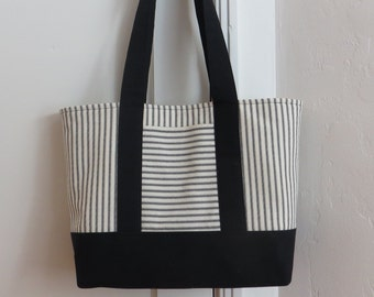 Black ticking tote bag, black canvas and black and cream ticking stripe, market bag, carryall