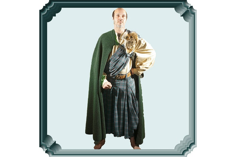 Medieval great kilt or imitation sheepskin cloak, Ancient highlander costume