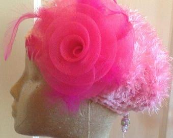Pink Fuzzy Handmade Crochet Beret
