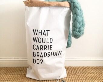 Sac/sac de rangement papier ce serait faire CARRIE BRADSHAW? Blanc ou marron - intérieur enfants