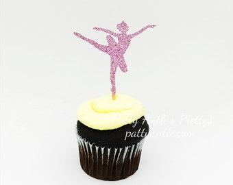 Glitter Ballerina Cupcake Toppers, Ballerina Cupcake Toppers, Dance Recital Cupcake Toppers, 12 Ct.