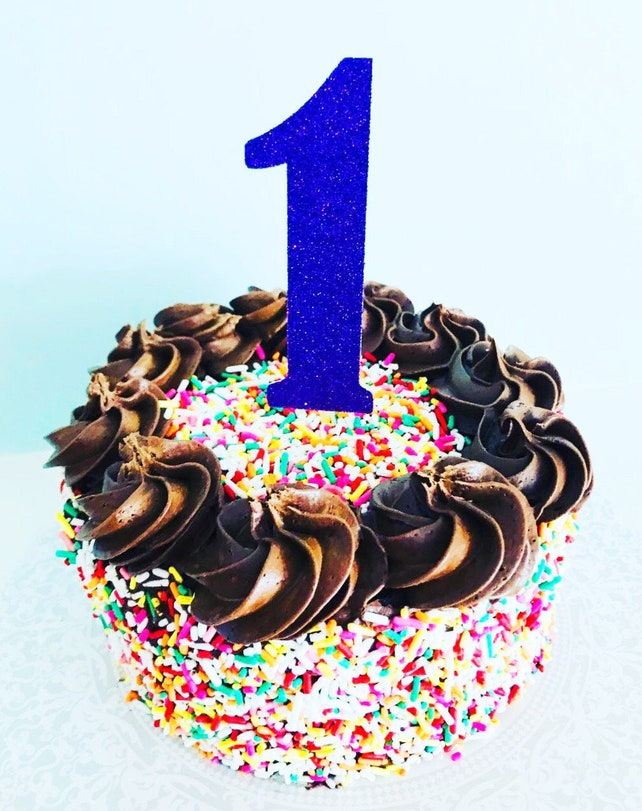 Glitter Happy Birthday Numbers Cake Topper