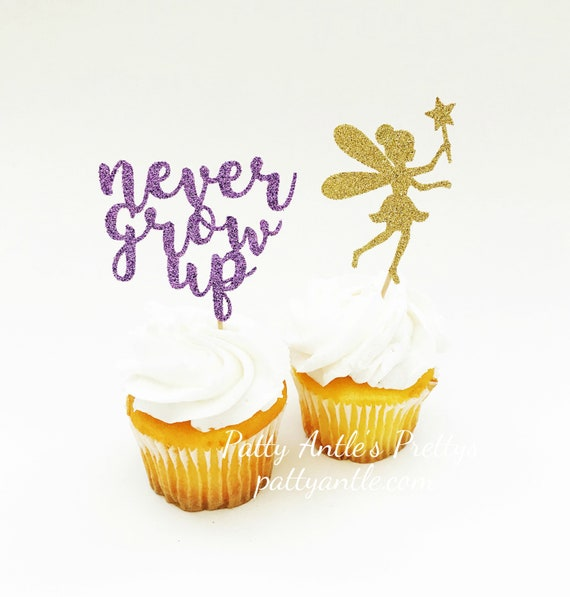 Glitter Fairy Cupcake Toppers, Never Grow Up Cupcake Toppers, 12 Ct.