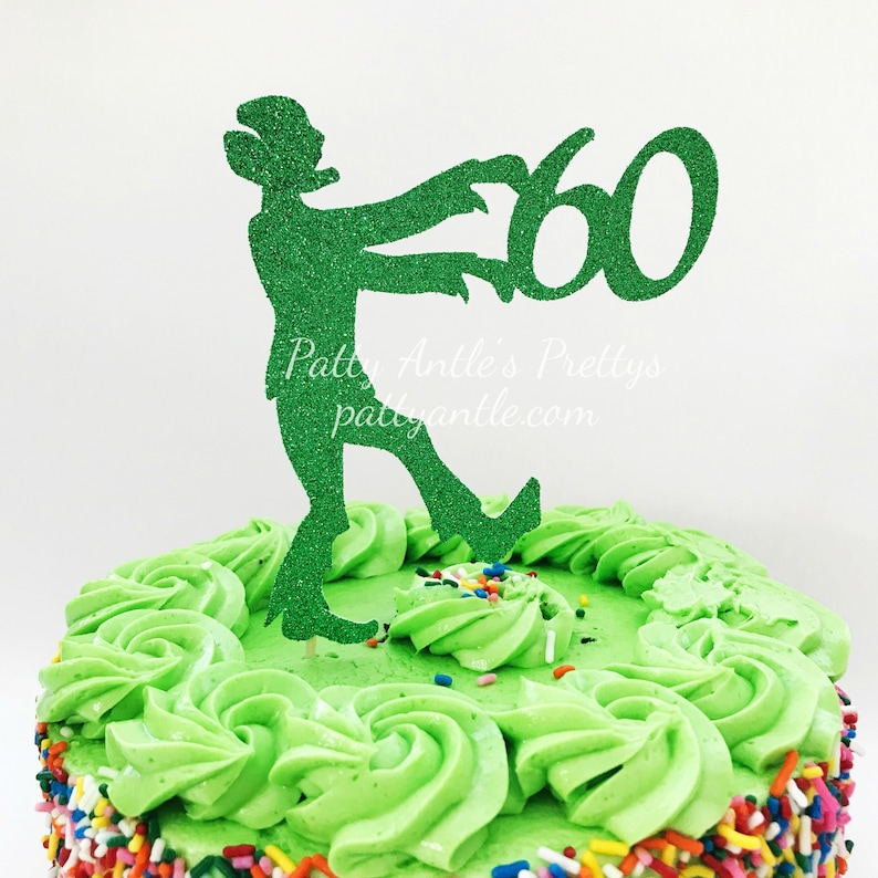 Glitter Zombie Cake Topper Birthday Zombie Cake Topper