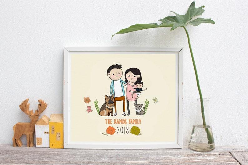 Custom Family portrait illustration Gift Family illustration image 0