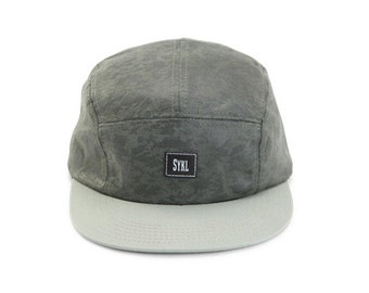 Premium Handmade 5 panel hat - Green Camo- Real leather patch and real leather strap