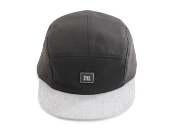 Handmade 5 panel hat - Black and Grey- Real leather patch and real leather strap