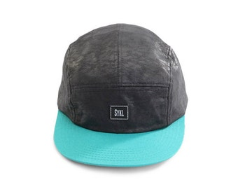 Premium Handmade 5 panel hat - Black Camo- Real leather patch and real leather strap