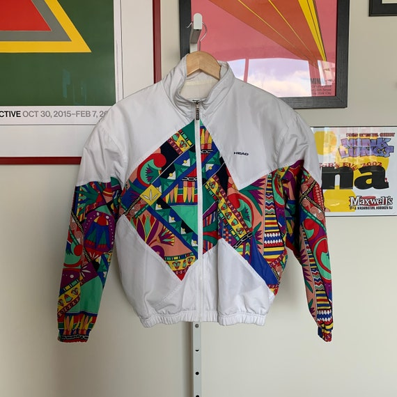 Vintage 80s White with Tropical Print Windbreaker
