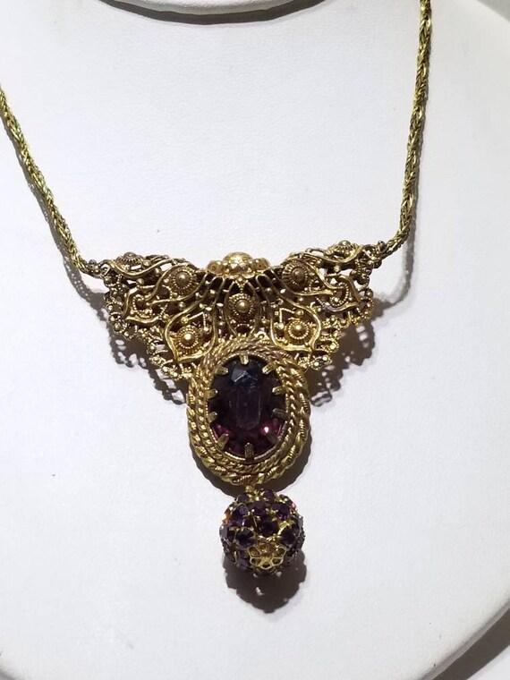 Fabulous German Etruscan Lavalier/Pin Necklace