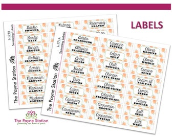 L-171 Kitchen Seasoning Sticker Labels for Your Every Kitchen Organizational need (2 Sheets) 48 total labels. YOU CUSTOMIZE!