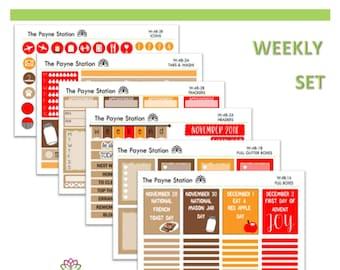 W48 French Toast Mason Jar Apple Day  Weekly Stickers, Checklist, Header, Trackers, Day, Date, Washi, Hydration, Icon, Full, Half, Quarter