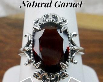 Natural Garnet Ring/ Sterling Silver/ 7ct Oval Cut Red Garnet Gem Sterling Silver Gothic Leaf Filigree [Made To Order] Design#84