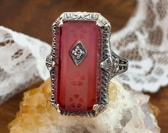 Vintage Camphor Glass Ring Sterling Silver Filigree Edwardian Fantasy Art Deco Ring Victorian Style Diamond Ring Size 6