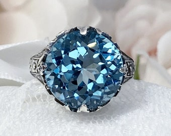 London Blue Topaz Ring Solid Sterling Silver 4.2ct Natural Blue Topaz Victorian Filigree Design#18 Made To Order