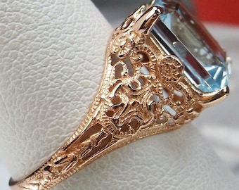 3ct Natural Blue Topaz Sterling Silver & Rose Gold Victorian/Edwardian Filigree Ring(Made To Order} #206