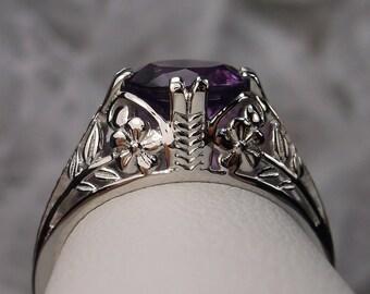 Amethyst Ring/ Solid Sterling Silver / 2ct Round Cut Purple Amethyst, Edwardian Art Deco 2Fleur Floral Filigree [Custom Made] Design#159