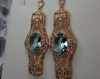 0f49a9997 Victorian Simulated Oval Blue Aquamarine Art Deco 1920's Rose Gold Plated  Sterling Silver Filigree Long Dangle Earrings {Made To Order