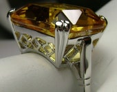 Yellow Citrine Ring Solid Sterling Silver 20ct Huge Square Cut Simulated Yellow Citrine, Vintage Art Deco Filigree Custom Made Design 1