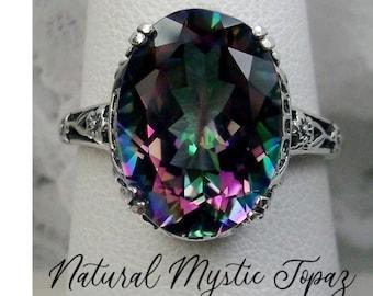 Rainbow Ring/ Sterling Silver/ 6ct Oval Mystic Topaz Gemstone Floral Edwardian Antique Filigree [Custom Made] Design#70